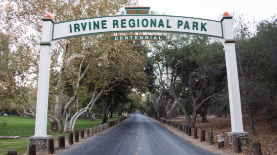 Archway over a road, saying Irvine Regional Park